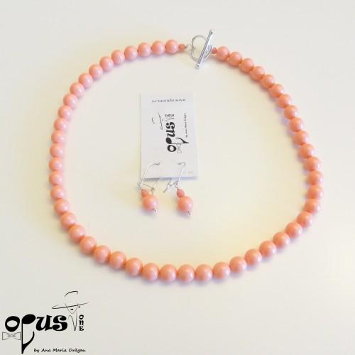 Set Bijuterii Pinky cu Perle Swarovski Roz