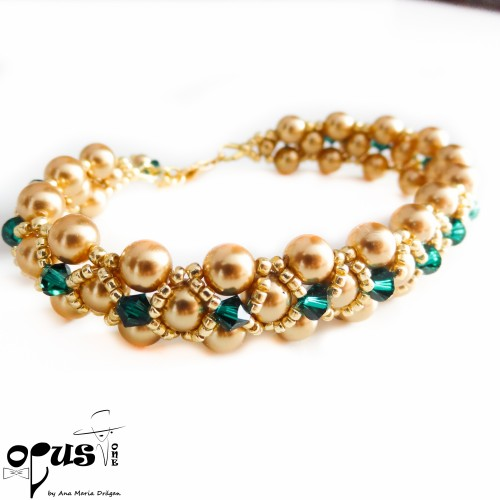 Set Bijuterii Golden Love Green Pearls