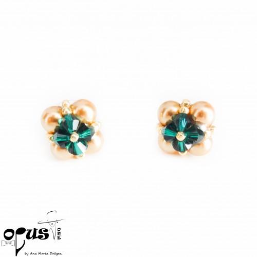 Set Bijuterii Golden Love Green Pearls