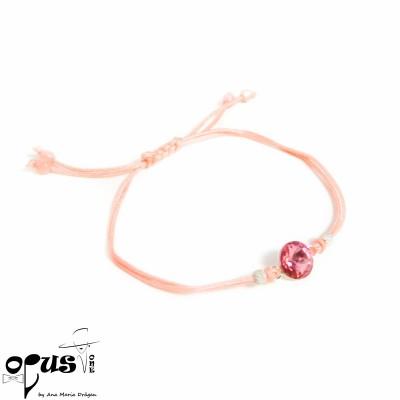 Bratara cu snur roz Rivoli Pink