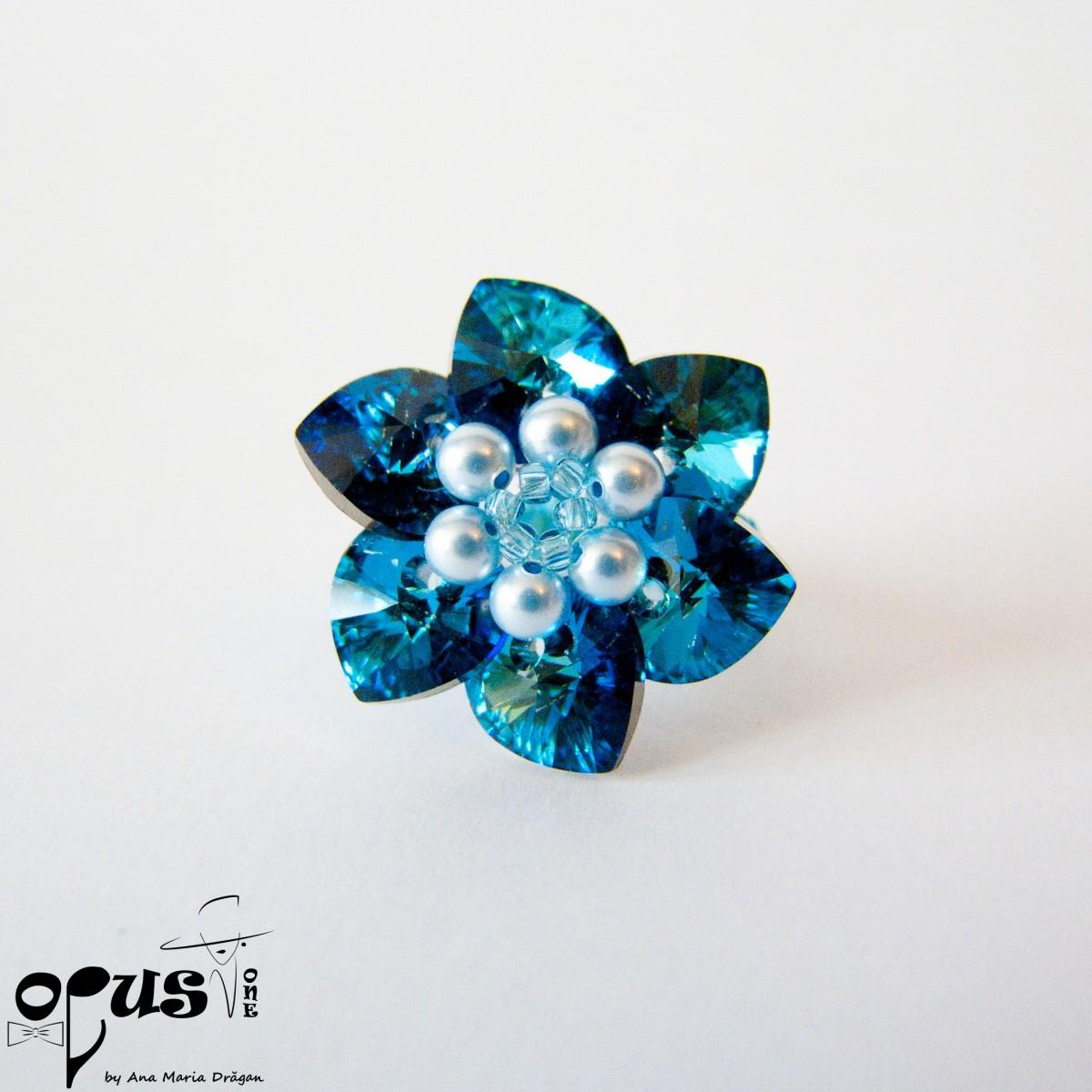 Inel Bermuda Blue Flower