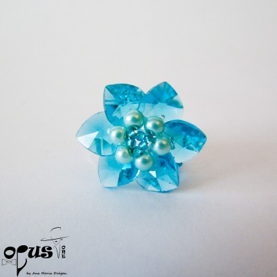 Inel Blue Flower