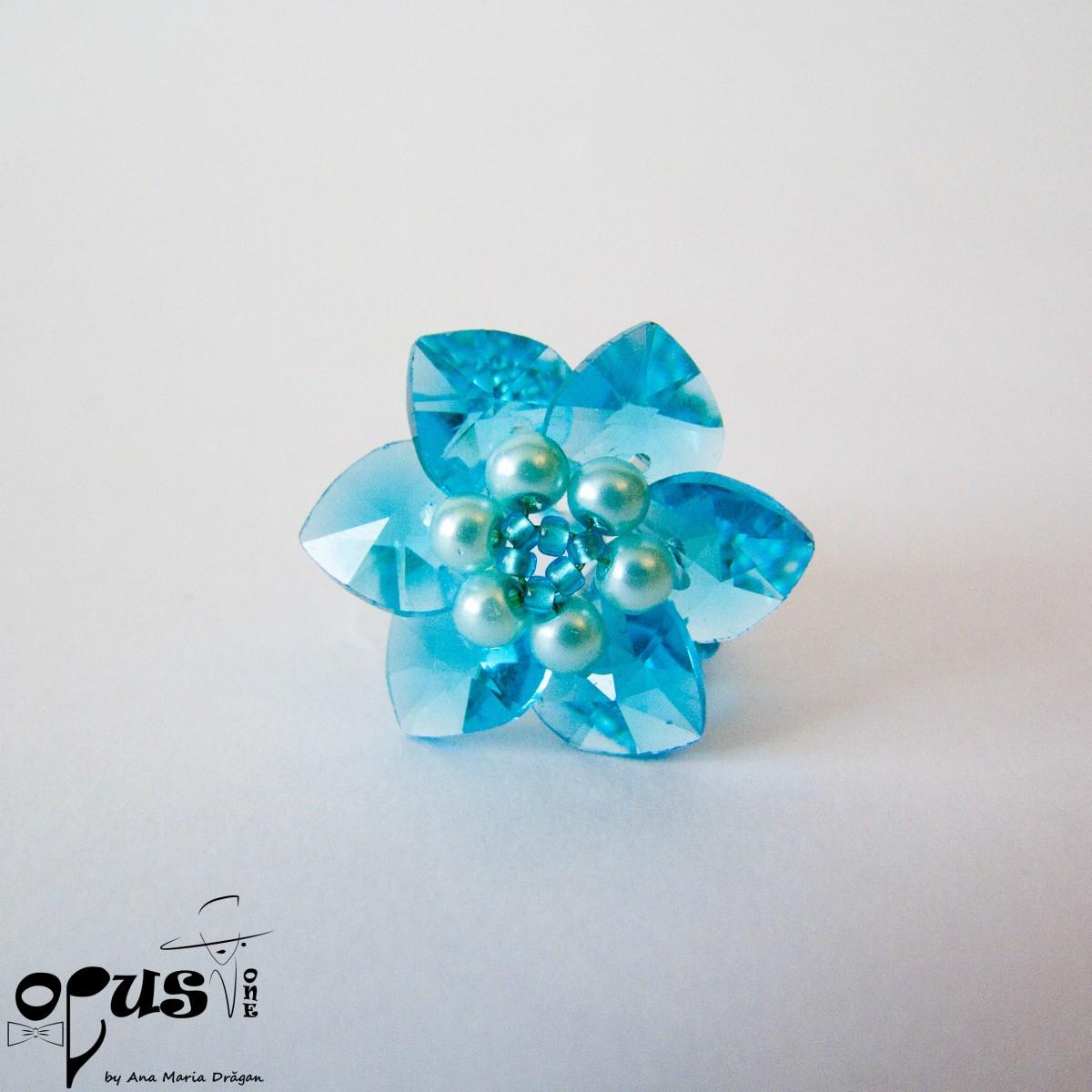 Inel Blue Flower