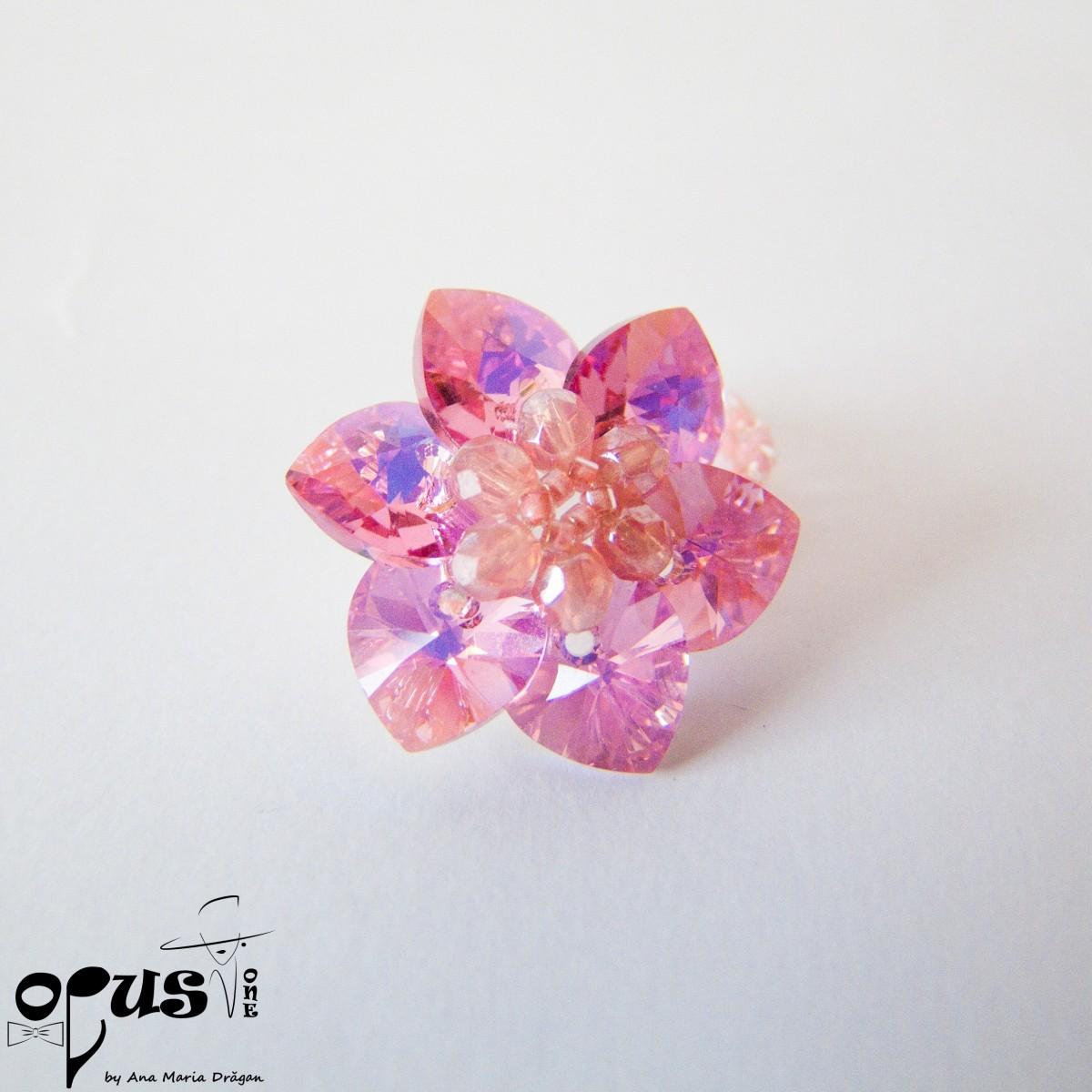 Inel Pink Flower