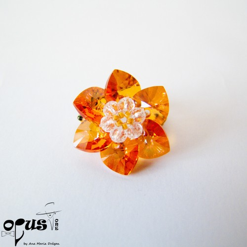 Inel Orange Flower