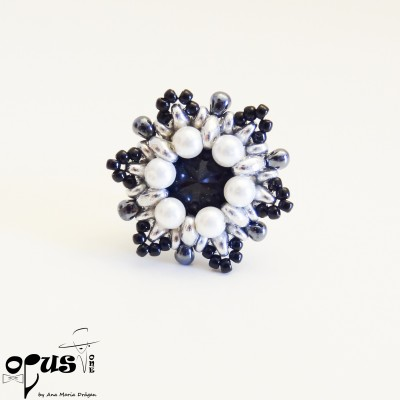 Inel Swarovski Black Flower