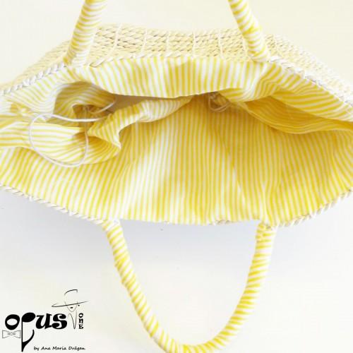 Geanta de Plaja Yellow cu flori albe
