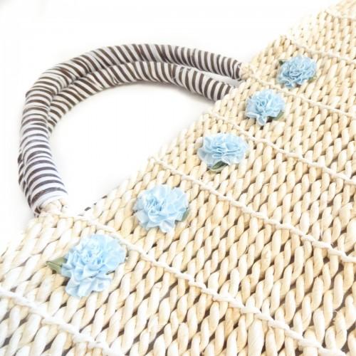 Geanta de Plaja Brown cu flori bleu