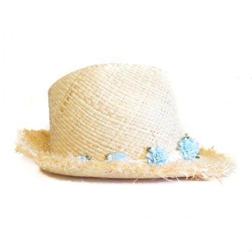 Palarie de dama cu flori bleu din satin