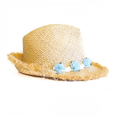 Palarie de plaja cu flori bleu