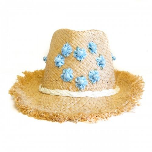 Palarie de plaja cu flori bleu in forma de inima