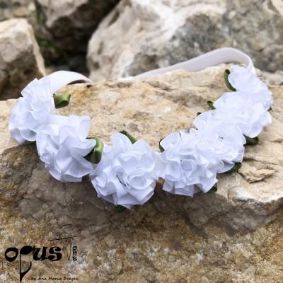 Bentita de par pentru fetite cu flori albe Mary