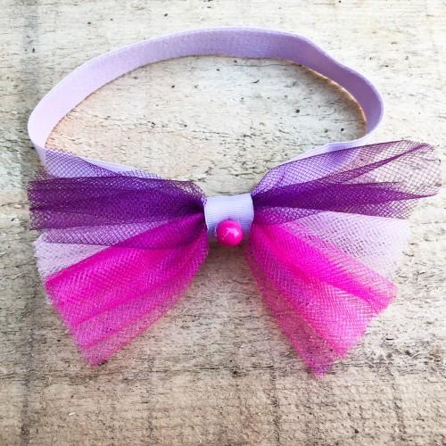 Bentita de par pentru fetite cu tulle in nuante de roz