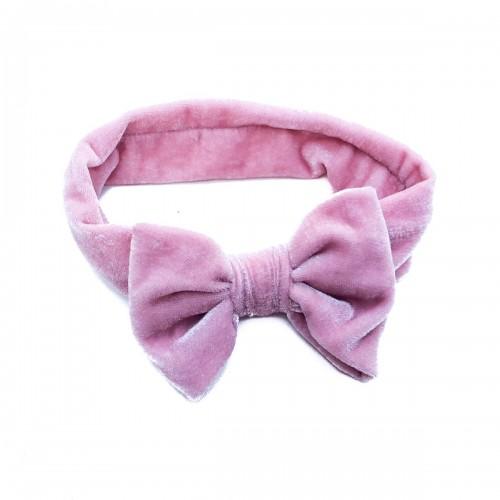 Bentita de par din catifea roz cu funda pentru fetite