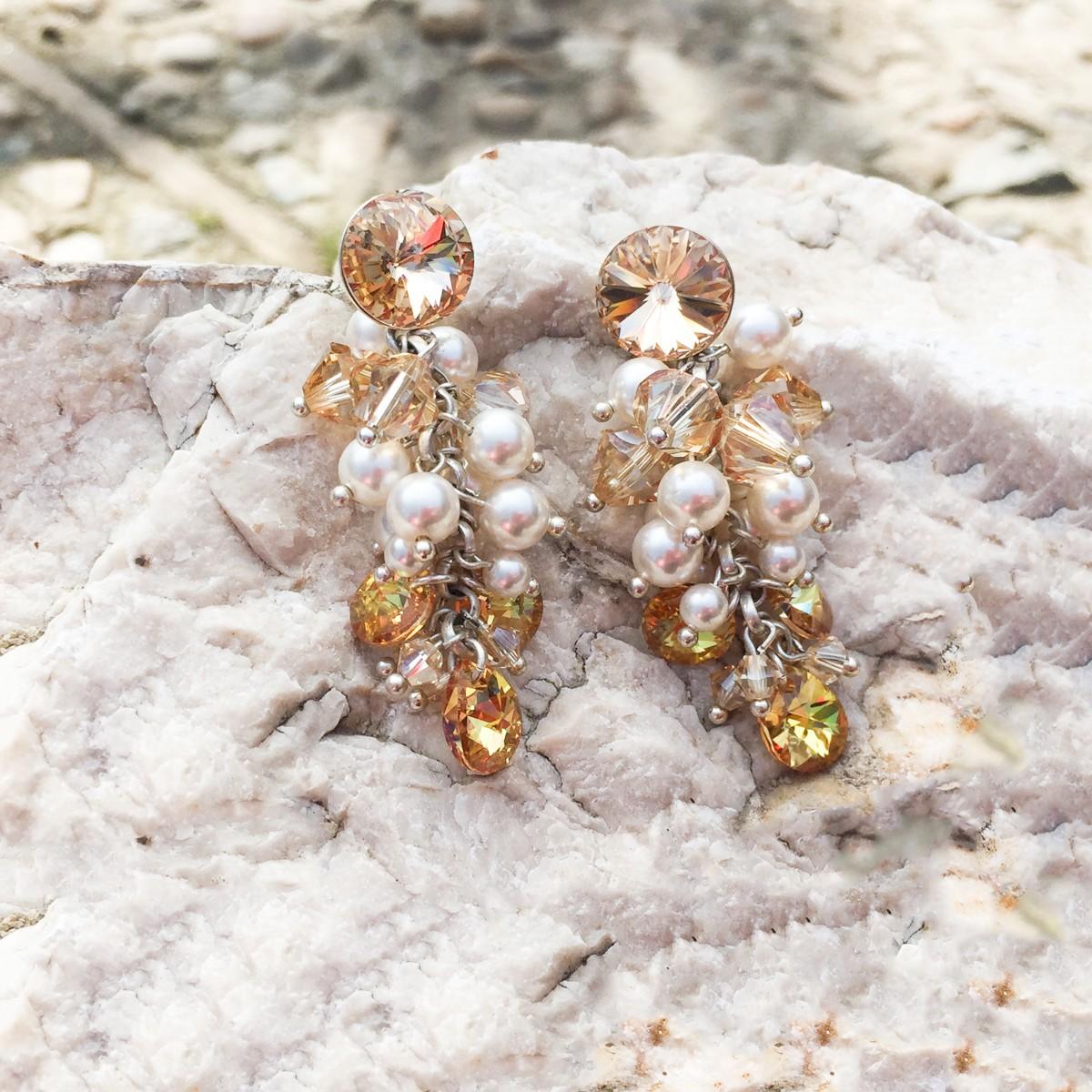 Cercei lungi cu perle Queen Gold