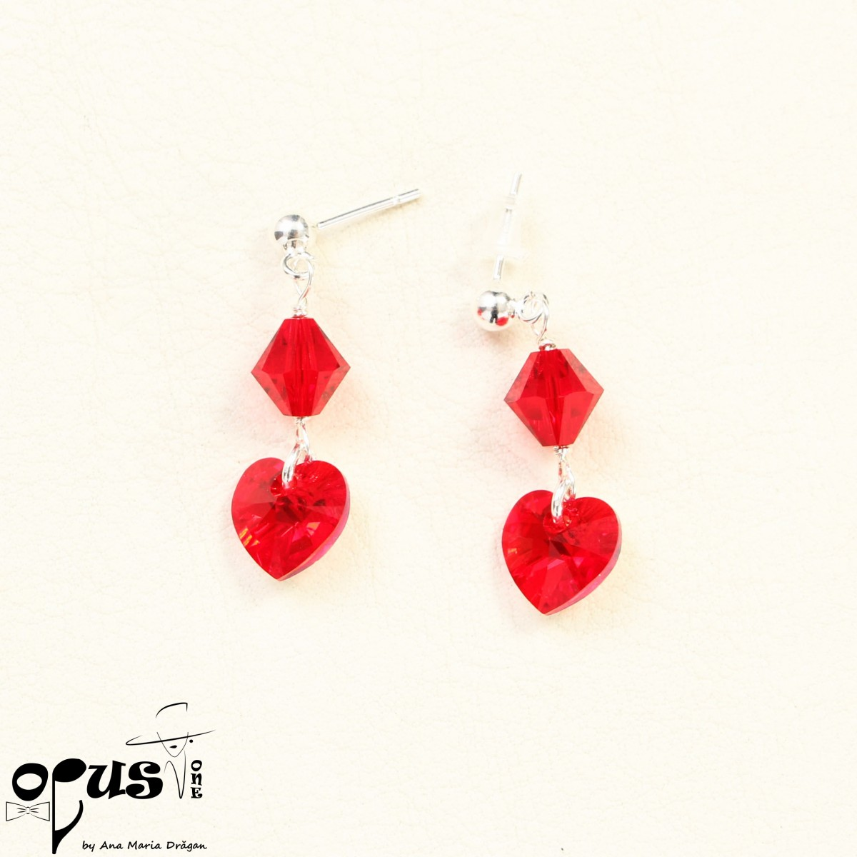 Cercei Mini Cristals Red Love