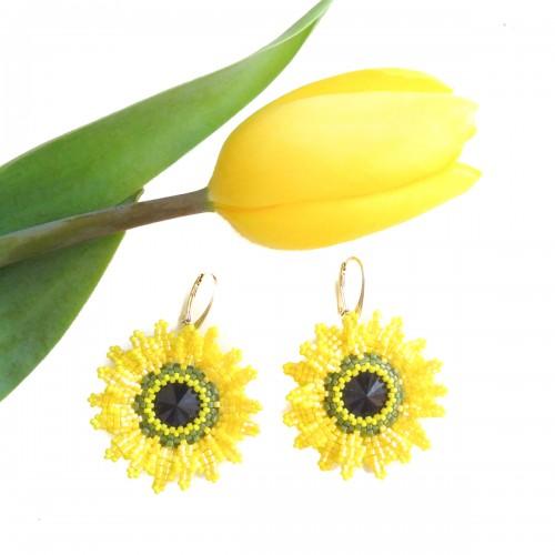 cercei galbeni floarea soarelui
