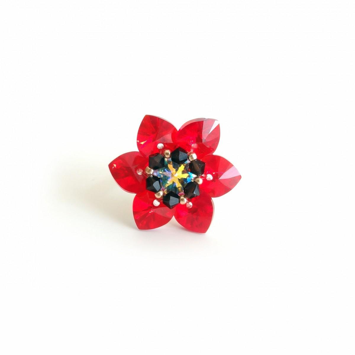 Inel Flower Red Siam