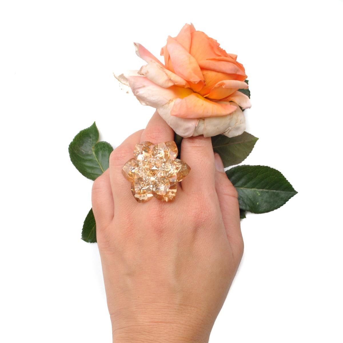 Inel auriu Harmony Flower Silk