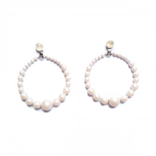 cercei rotunzi cu perle albe