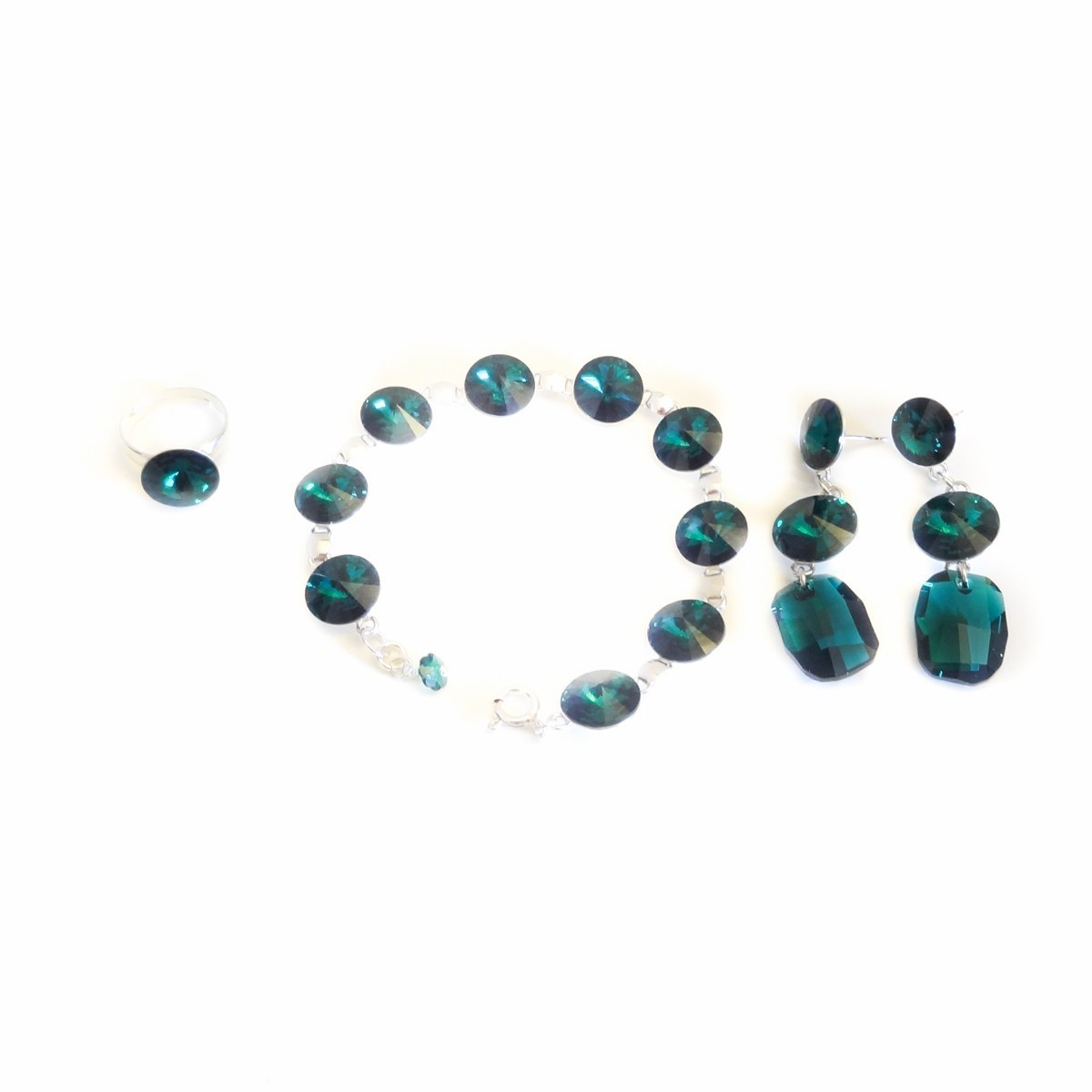 Set Bijuterii cu cristale verzi Royal...