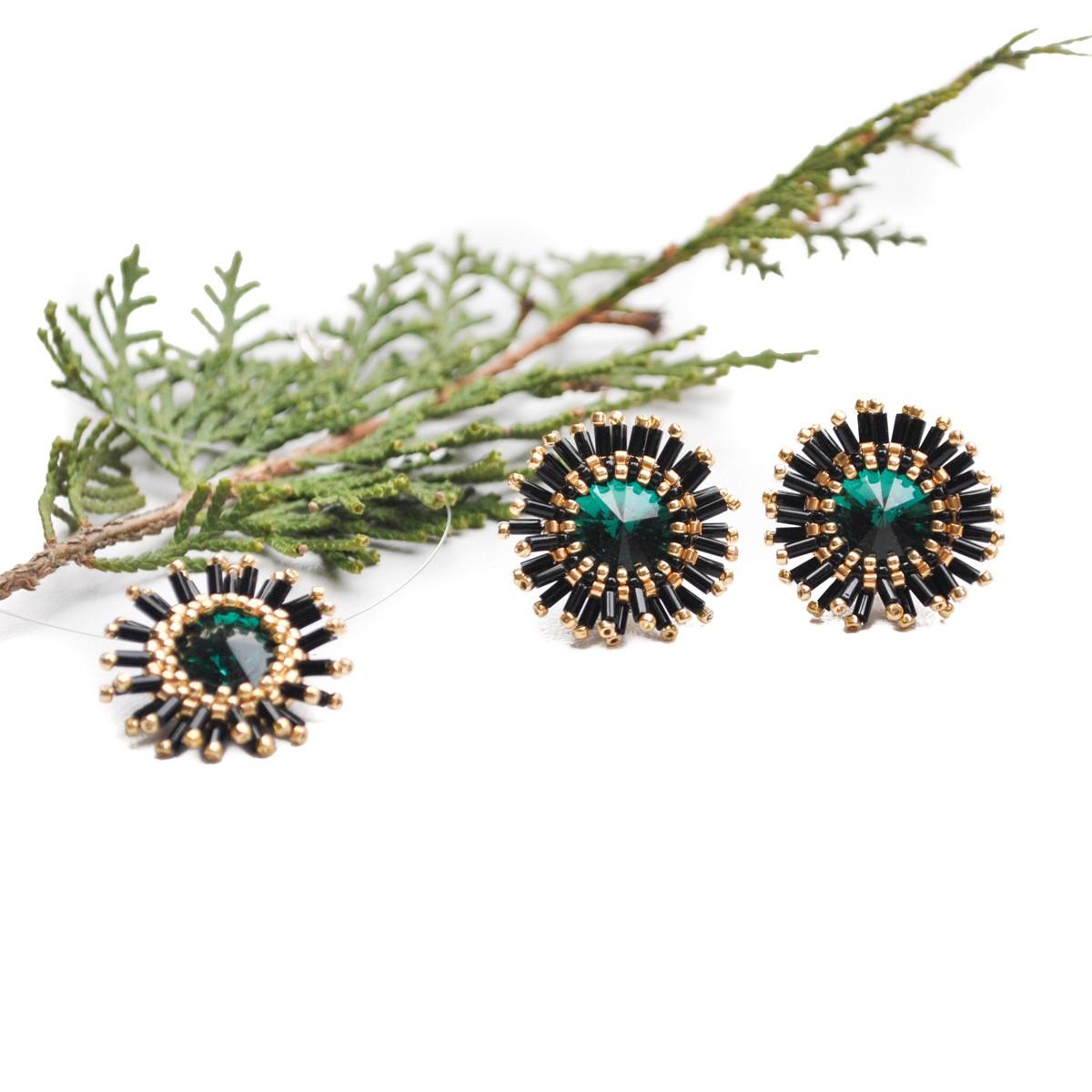 Set Bijuterii cu cristale verde menta...
