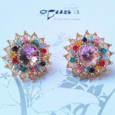 Cercei Flower Color cu cristale swarovski