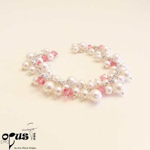 Bratara White Pink Pearls