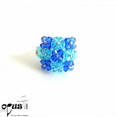 Inel Square Cristals Blue