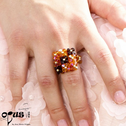 Inel Square Cristals Orange
