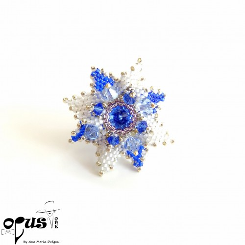 Inel Flower Square - Amadeus Blue Safir