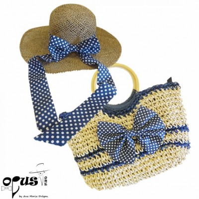 Set Palarie si Geanta Blue Bow