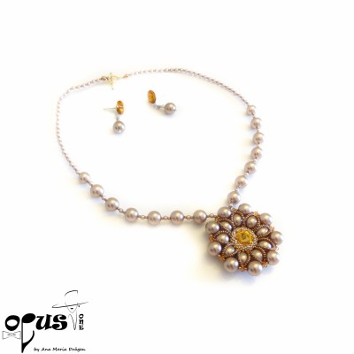Set Bijuterii Flower Pearl Love