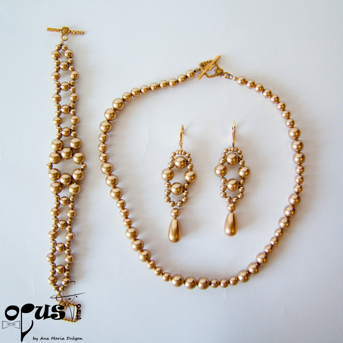 Set Bijuterii Golden Pearls cu Perle...
