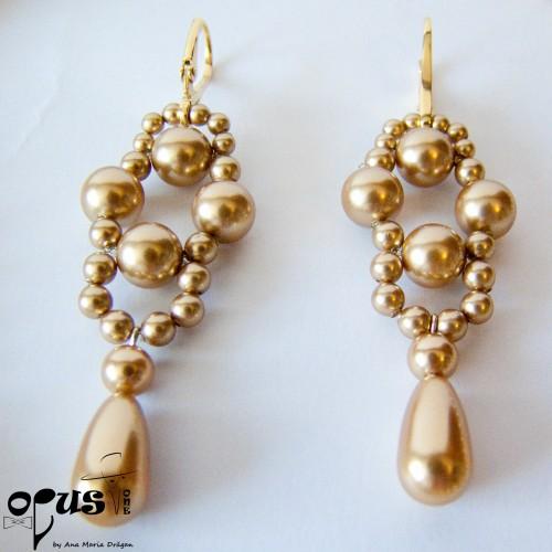 Set Bijuterii Golden Pearls cu Perle Swarovski
